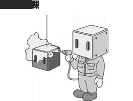 塗装作業するキャラクターのイラスト